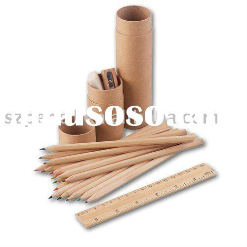 wood tube color pencil ,hot selling art drawing pencil, color pencil set ruler