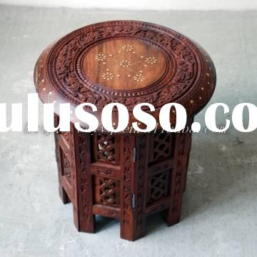 """100% guarantee Wooden handmade carved 18"""" folding round table  --furniture stool corner table"""