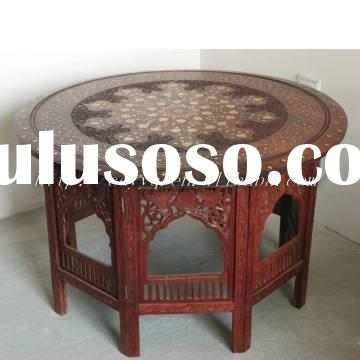 """100% guarantee Wooden handmade carved 30""""*18"""" folding round table  --furniture stool corne"""