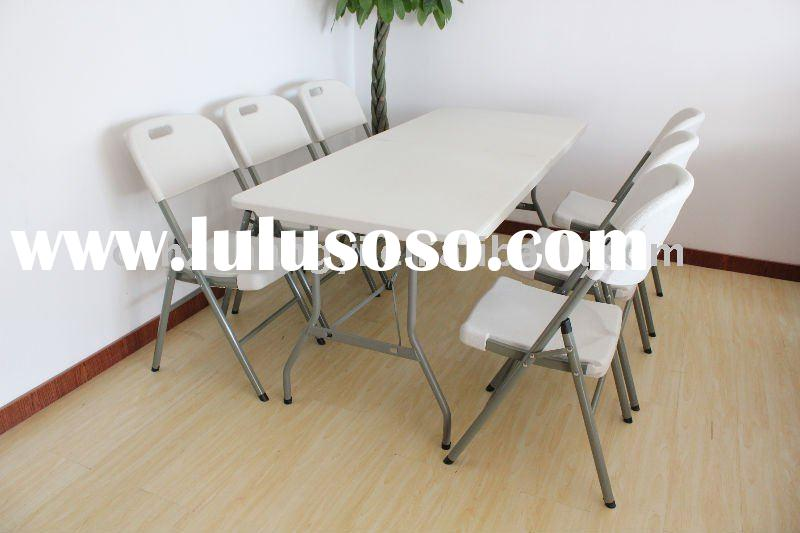 60''Rectangular folding dinning table and chairs