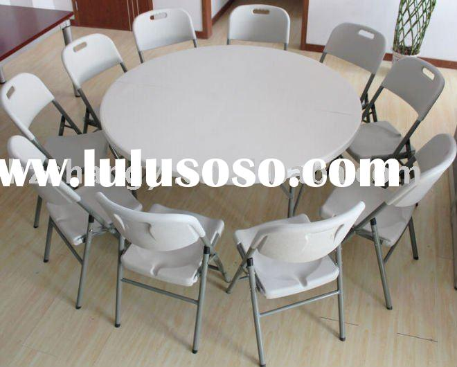 60in blow mold round folding table and folding chair
