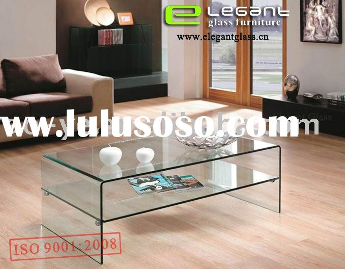 Glass Table With Shelf Part - 48: Glass Coffee Table With Ottomans