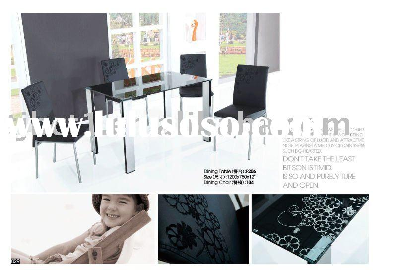 Black Glass Dining Table and Chair