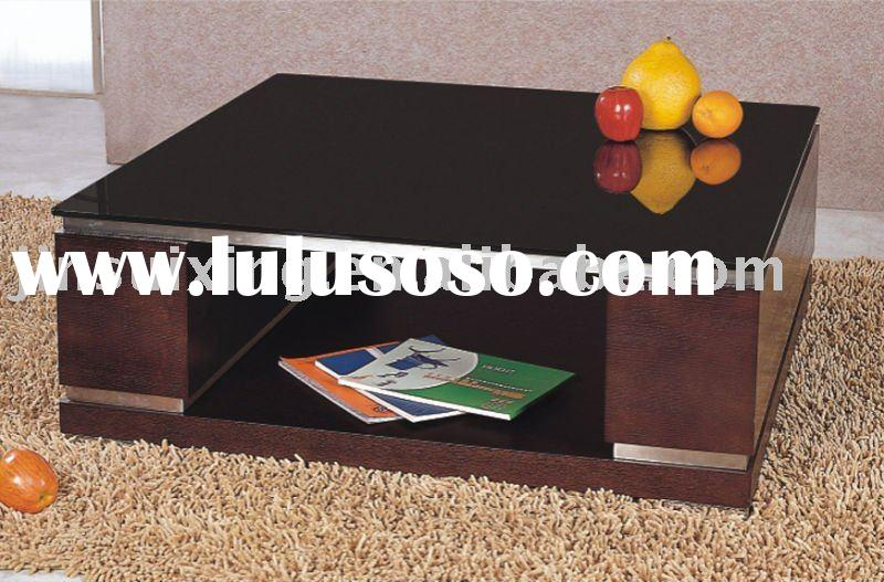 Black glass coffee table (Wood veneer) D088#2