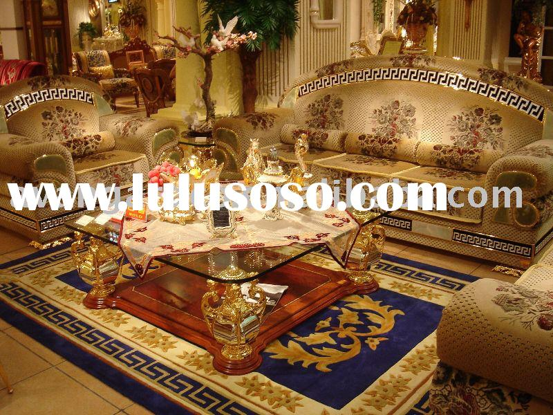 Bronze sofa set& Square Glass coffee table