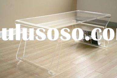 Clear Acrylic Coffee Table with Magazine Rack