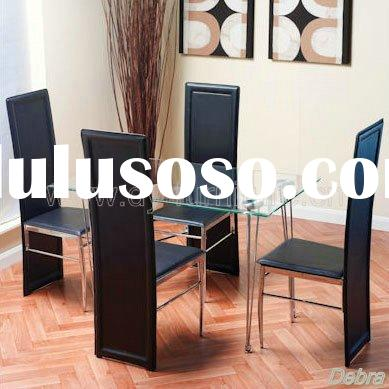 Contemporary Sam Clear Glass Dining Table + 4 Sam Dining Chairs