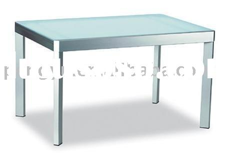 Dining table with tempered frosted glass top and satin finished steel frame