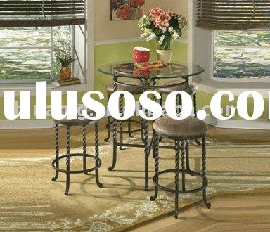 Fashion round metal glass coffee table set CT004