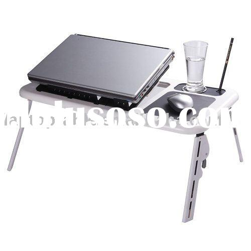 Foldable and portable laptop table with 2 usb fans