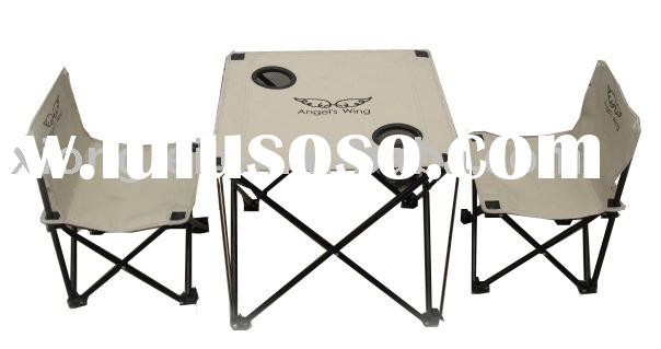 Folding beach table and chairs set