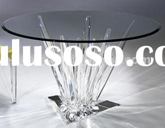 "JAD-010 60"" Round Acrylic and Glass Dining Table"