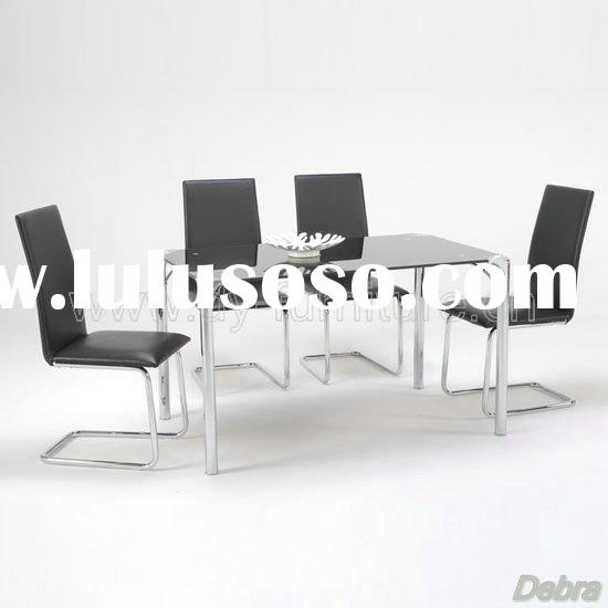 Polar Black Glass Dining Table + 4 Chairs