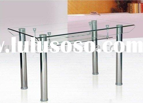 Rectangular Glass and Metal  Dining Table  001
