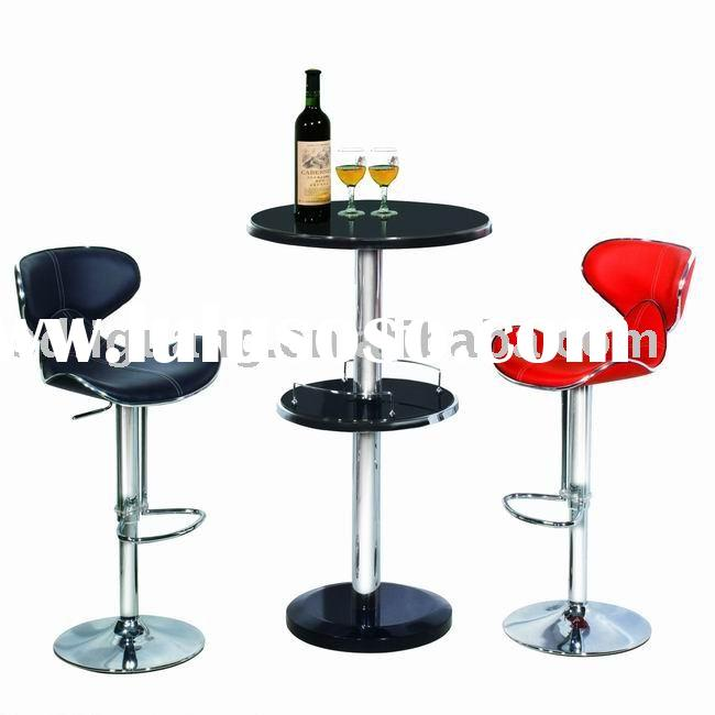 Round Glass Bar Table + 2 Bar Stools