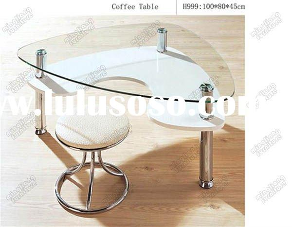 Triangle round white colour coffee table with stool