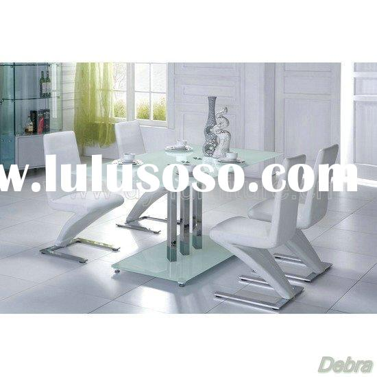 Trilogy Frosted Glass Dining Table with 6 White Chairs
