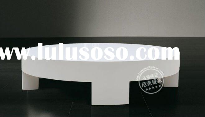 White Glossy Round Coffee Table Living Room Furniture