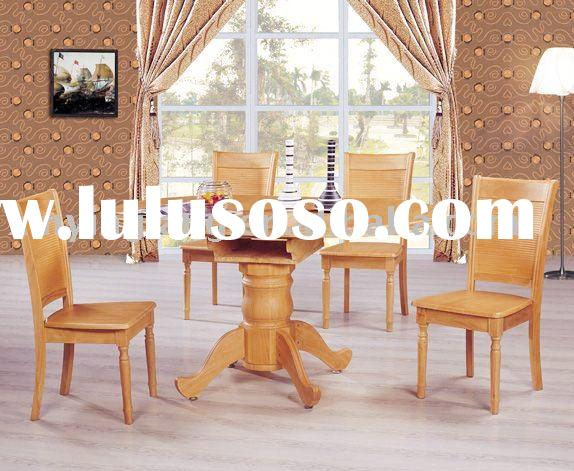 Wood round dining table set