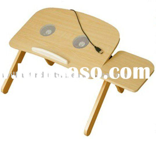 Wooden Folding Laptop Table with Cooling Fand and Mouse Pad