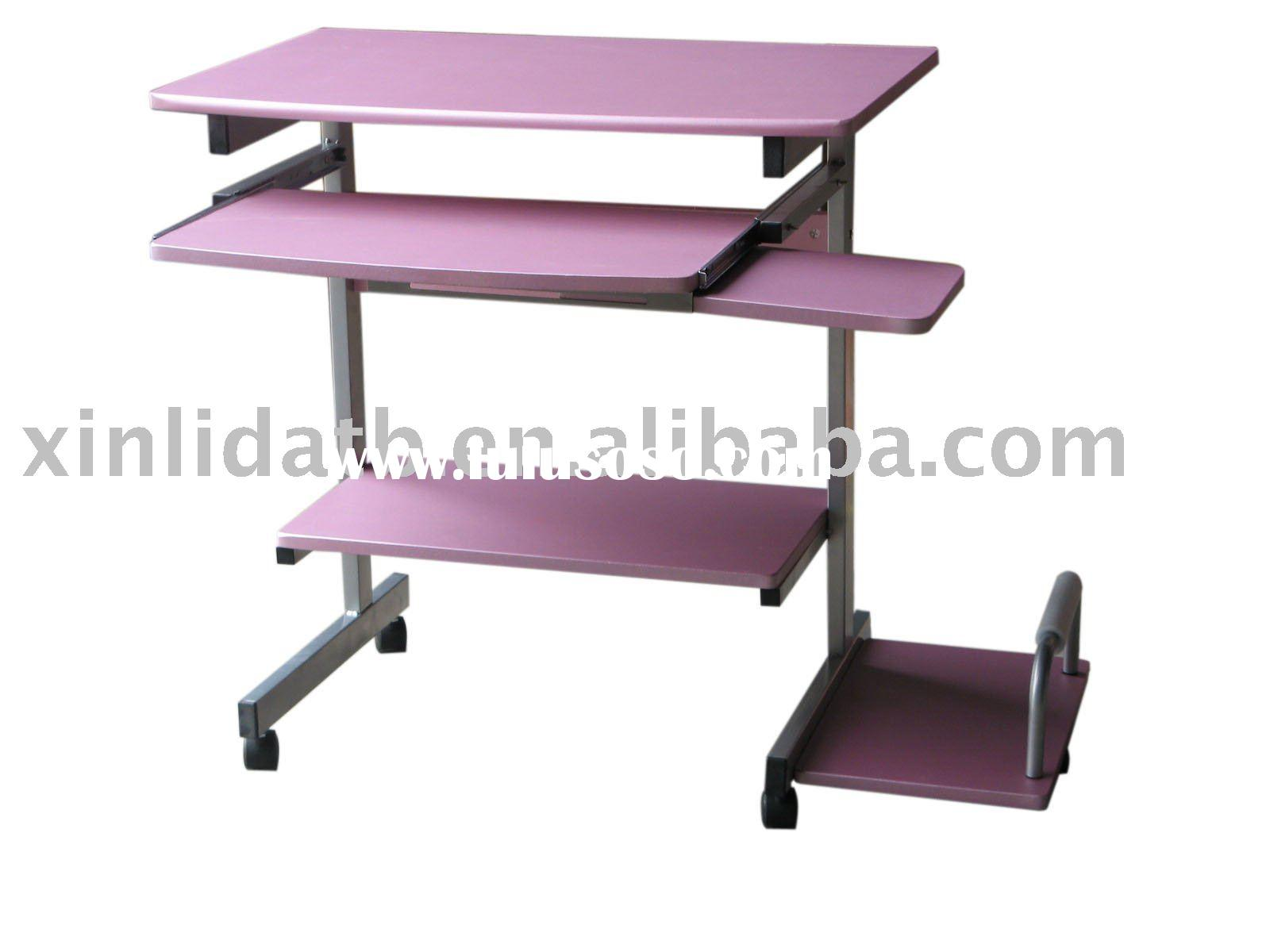 XD-715(Pink) Small Wood and metal movable Computer table