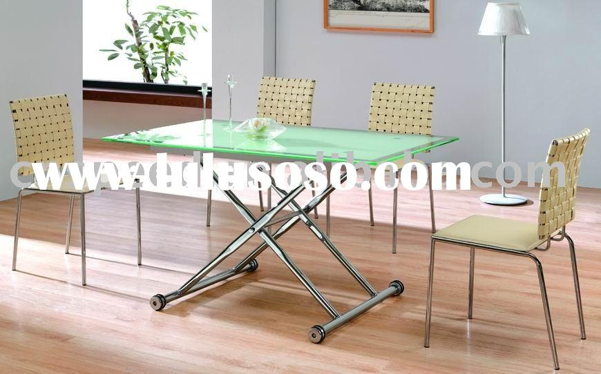 adjustable rectangle glass dining table