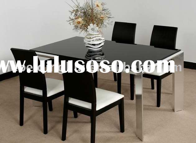 black modern dining room table and chair