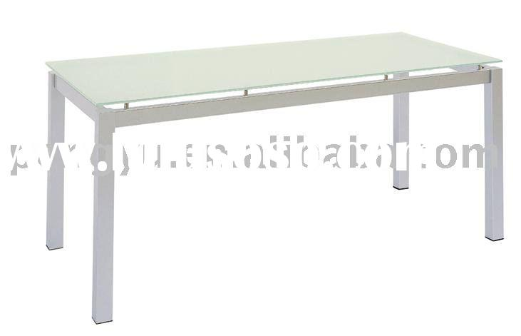 brushed silver steel frame and frosted glass top dining table