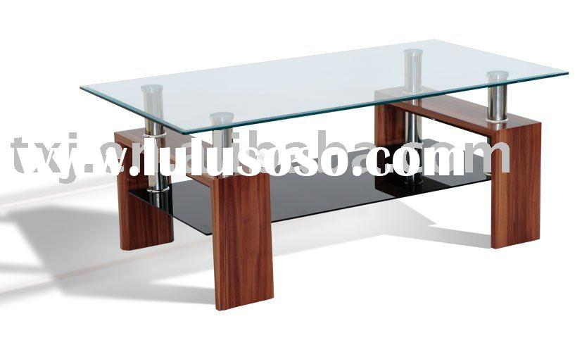 glass coffee table(wood coffe table)