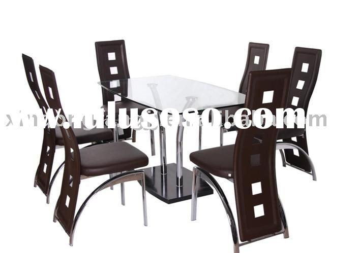 glass top marble base dining table sets/ chromed legs dinner set