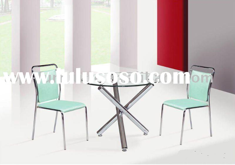 glass top round dining table and chair