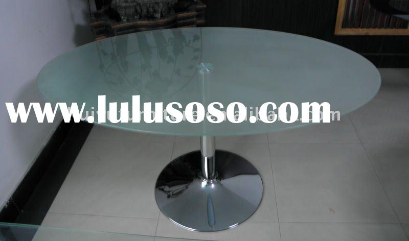 modern chrome metal base with sand blasted glass dining table