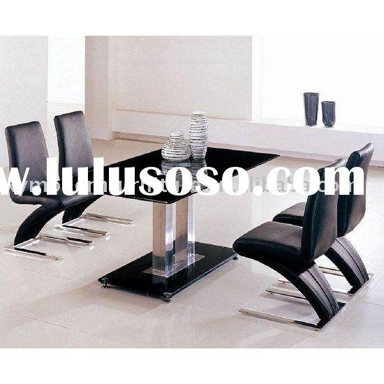 modern design black tempered glass dining table and chair xydt-066