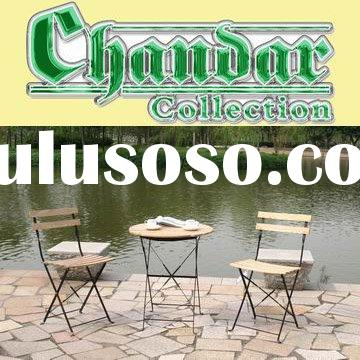 plastic wood top iron folding table and chair