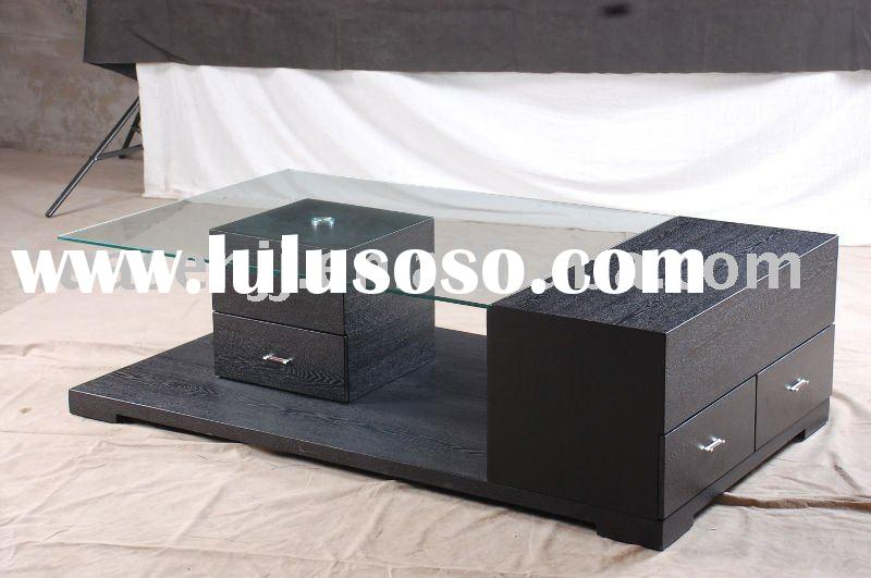 rectangular wood & glass coffee table