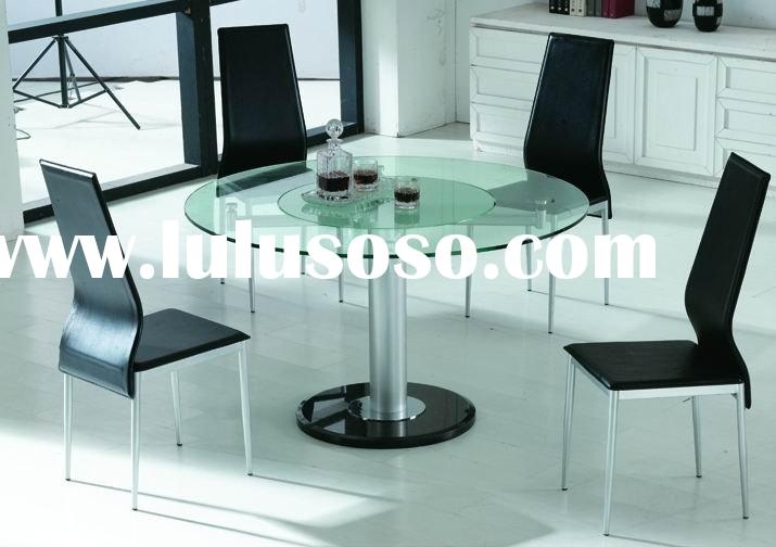 round center movable glass dining table with black marble base