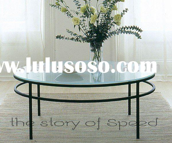 round frosted tempered glass coffee table