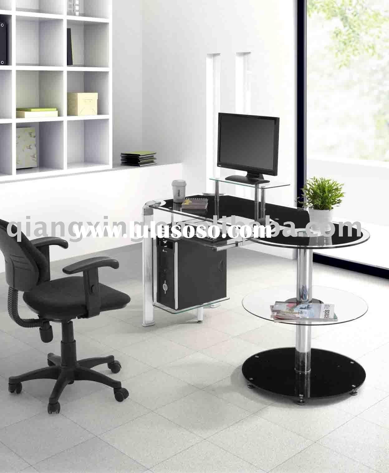tempered glass computer table  office table