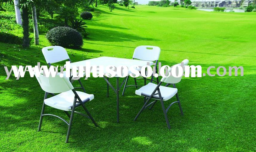 white plastic folding square table & chair