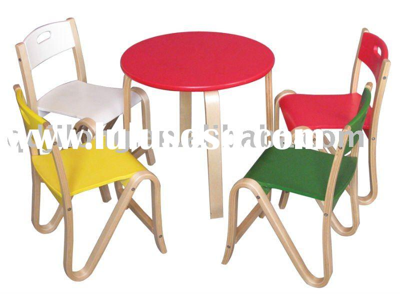 wooden stackable child table and chair stool