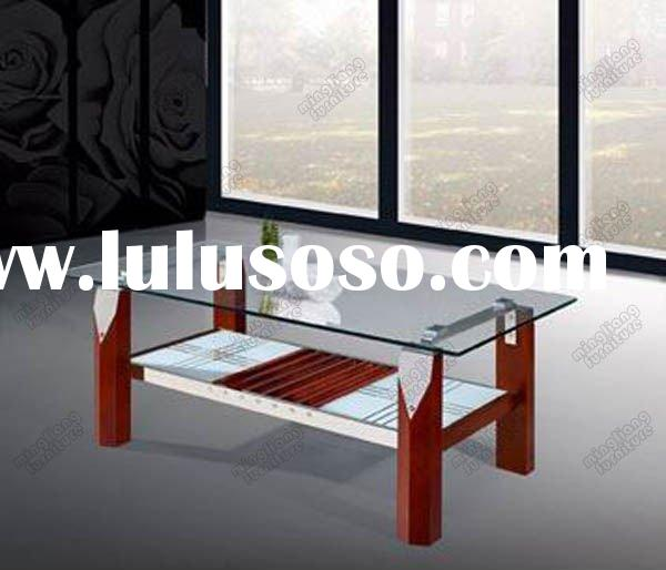 wooden support glass top surface coffee tables with stainless steel