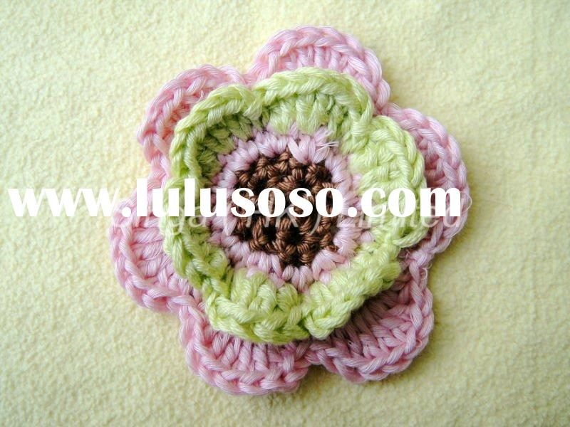 1-piece 100% Handmade Artificial Decorative Hand Crochet Flower Applique for Bag, Brooch, Dress, Hat