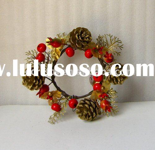 25cm decorative christmas wreath with pinecones and berries ornaments