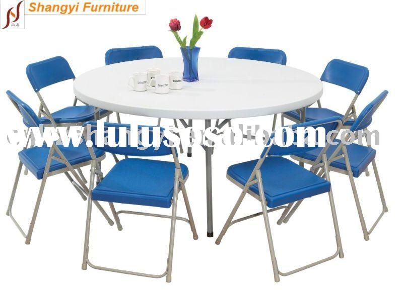 60''*30'' blow-molded plastic round folding table
