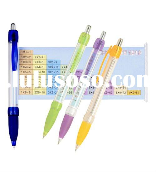 Advertising pen, banner pen with multiplication table printed on paper
