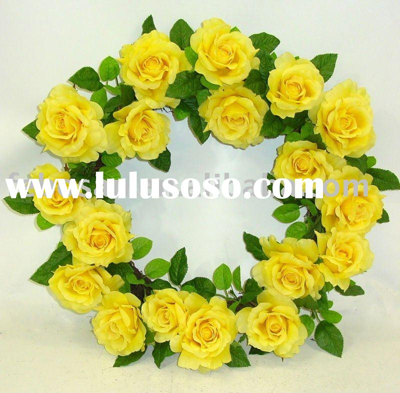 "Artificial flower wreath / Silk flower wreath / Wedding flower - 24""artificial  ROYAL ROSE WREA"