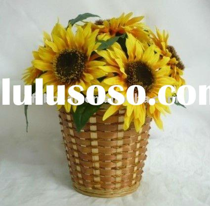 "Decorative artificial flower / Silk Flower arrangement - 13"" artificial SUNFLOWER IN BASKET"