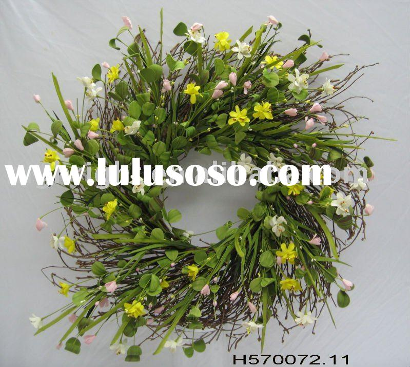 Decorative artificial flower wreaths