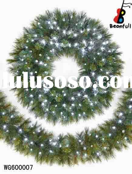 Fiber Optic Christmas Wreath and Garland With Plume Decoration