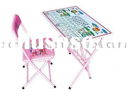 Metal Kids Pink 2-Piece Folding Table and Chair Set